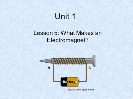Unit 1 Lesson 5: What Makes an Electromagnet?. Objective By the end of this lesson you should know what an electromagnet is and how to make one.