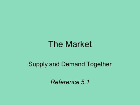 The Market Supply and Demand Together Reference 5.1.