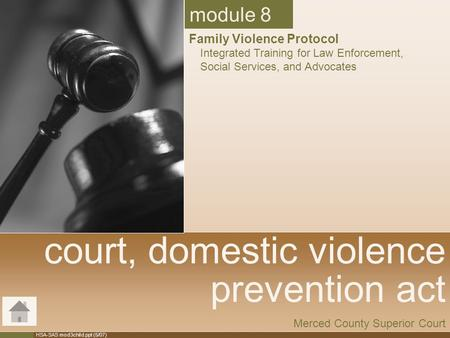 HSA-SAS mod3child.ppt (5/07) court, domestic violence prevention act Merced County Superior Court module 8 Family Violence Protocol Integrated Training.