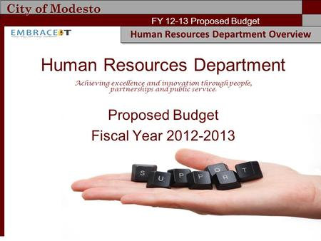 City of Modesto FY 12-13 Proposed Budget Human Resources Department Overview Human Resources Department Achieving excellence and innovation through people,