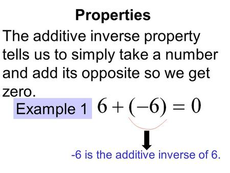 Properties The additive inverse property tells us to simply take a number and add its opposite so we get zero. Example 1 -6 is the additive inverse of.