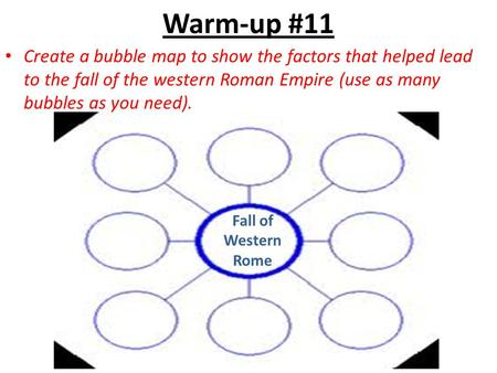 Warm-up #11 Create a bubble map to show the factors that helped lead to the fall of the western Roman Empire (use as many bubbles as you need). Fall of.