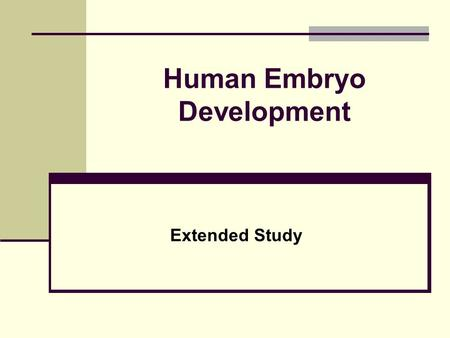 Human Embryo Development Extended Study. Learning Objectives List the sequence of development of an embryo Explain the term fertilized egg Explain the.