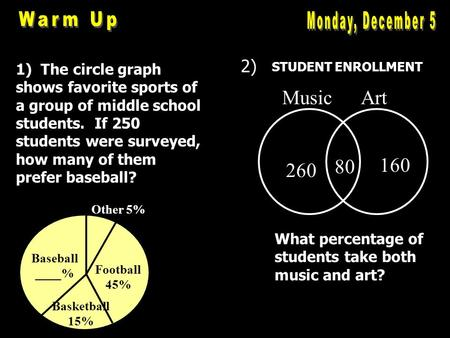 1) The circle graph shows favorite sports of a group of middle school students. If 250 students were surveyed, how many of them prefer baseball? 2) Baseball.