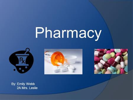 Pharmacy By: Emily Webb 2A Mrs. Leslie. Nature of Work/What They Do  Distributes drugs to individuals  Advises patients, physicians, and other health.