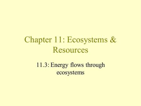 Chapter 11: Ecosystems & Resources 11.3: Energy flows through ecosystems.