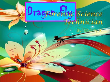 Dragon Fly.  Forensic science technicians investigate crimes by analyzing physical evidence. They also prepare reports to document their findings and.