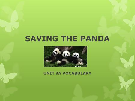 SAVING THE PANDA UNIT 3A VOCABULARY. VOCABULARY PRECIOUS — Adjective valuable, costly adorable, darling Antonyms common worthless.