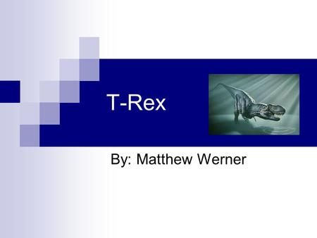 T-Rex By: Matthew Werner. What is the name? Tyrannosaurus rex is first name T-Rex for short.