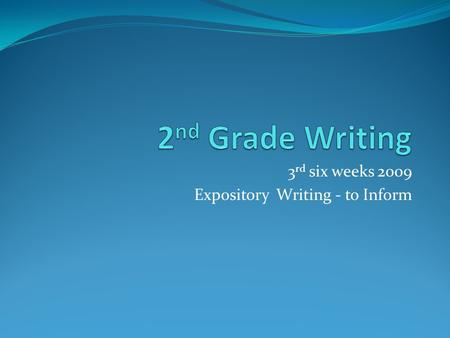 3 rd six weeks 2009 Expository Writing - to Inform.