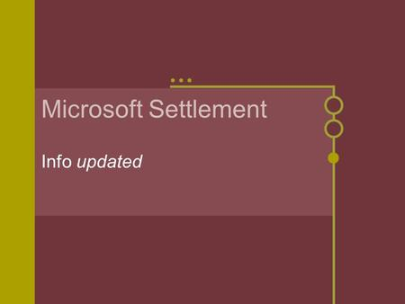 Microsoft Settlement Info updated. Help the poorer schools in acquiring technology to assist with implementation of the ICC The money is not to supplant.