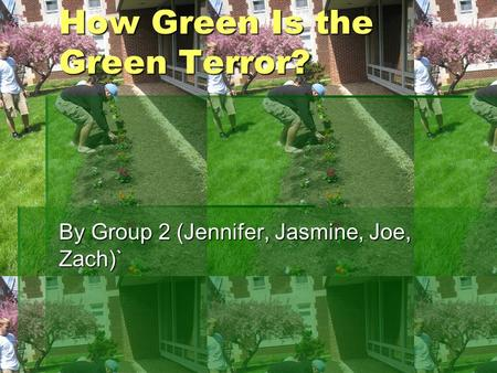How Green Is the Green Terror? By Group 2 (Jennifer, Jasmine, Joe, Zach)`