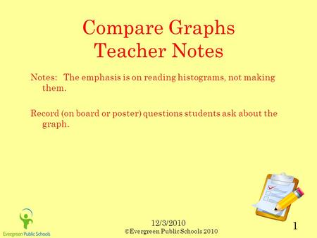 12/3/2010 ©Evergreen Public Schools 2010 1 Compare Graphs Teacher Notes Notes: The emphasis is on reading histograms, not making them. Record (on board.