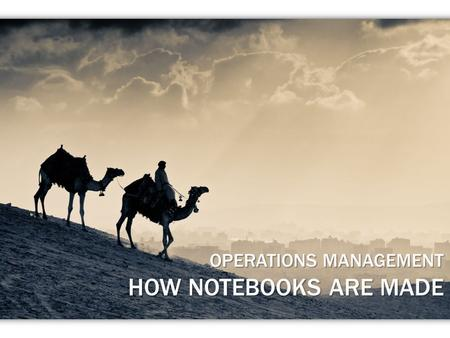 OPERATIONS MANAGEMENT HOW NOTEBOOKS ARE MADE. Introduction The Video Analysis & Methodology Analysis of the Supply Chain Lean Systems Quality Control.