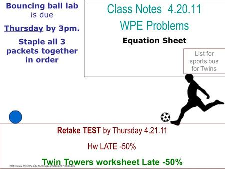 Class Notes WPE Problems Equation Sheet
