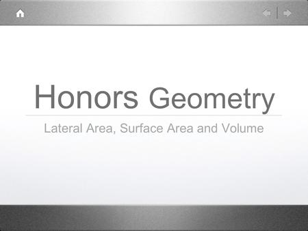Honors Geometry Lateral Area, Surface Area and Volume.