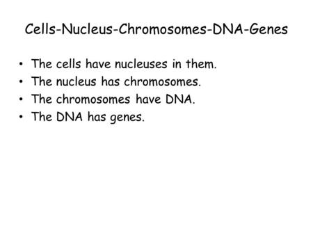Cells-Nucleus-Chromosomes-DNA-Genes The cells have nucleuses in them. The nucleus has chromosomes. The chromosomes have DNA. The DNA has genes.