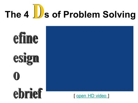 The 4 s of Problem Solving [ open HD video ]open HD video.