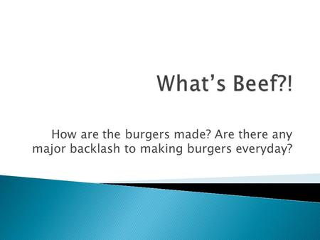How are the burgers made? Are there any major backlash to making burgers everyday?