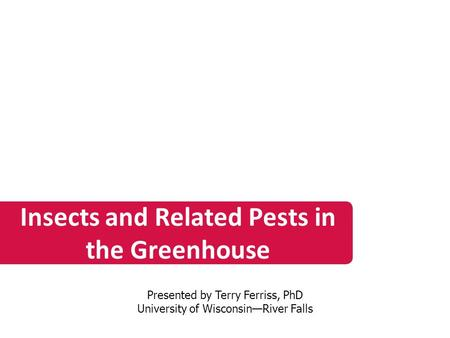 Insects and Related Pests in the Greenhouse Presented by Terry Ferriss, PhD University of Wisconsin—River Falls.