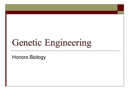 Genetic Engineering Honors Biology. Vocabulary  Genetic Engineering  Recombinant DNA  Transgenic Organisms  Cloning  Gene Cloning  Gene Therapy.