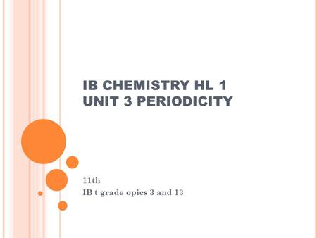 IB CHEMISTRY HL 1 UNIT 3 PERIODICITY 11th IB t grade opics 3 and 13.