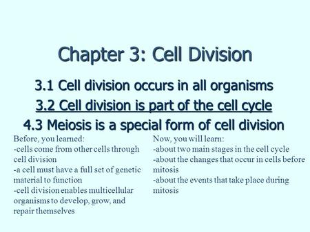 Chapter 3: Cell Division 3.1 Cell division occurs in all organisms 3.2 Cell division is part of the cell cycle 4.3 Meiosis is a special form of cell division.