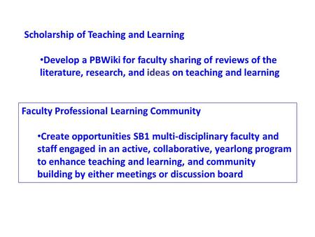 Scholarship of Teaching and Learning Develop a PBWiki for faculty sharing of reviews of the literature, research, and ideas on teaching and learning Faculty.