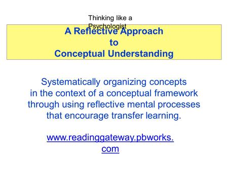 A Reflective Approach to Conceptual Understanding Systematically organizing concepts in the context of a conceptual framework through using reflective.