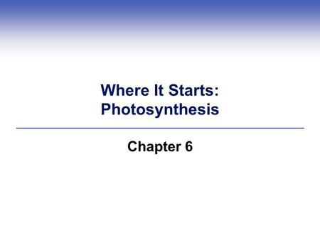 Where It Starts: Photosynthesis Chapter 6. Introduction  Before photosynthesis evolved, Earth's atmosphere had little free oxygen  Oxygen released during.