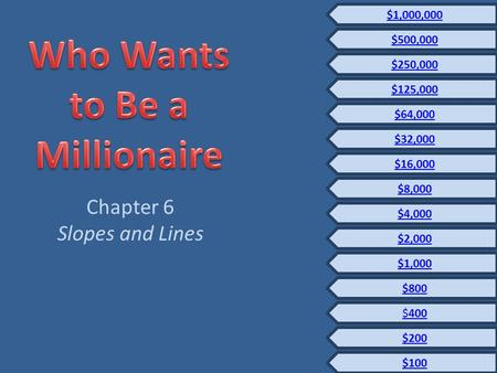 Chapter 6 Slopes and Lines $100 $200 $400 $800 $1,000 $2,000 $250,000 $125,000 $32,000 $16,000 $8,000 $4,000 $64,000 $500,000 $1,000,000.