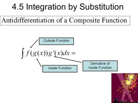 4.5 Integration by Substitution Outside Function Inside Function Derivative of Inside Function.
