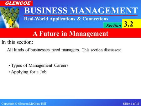 In this section: All kinds of businesses need managers. This section discusses: Types of Management Careers Applying for a Job.