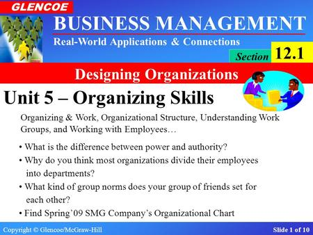 Copyright © Glencoe/McGraw-Hill Slide 1 of 10 BUSINESS MANAGEMENT Real-World Applications & Connections GLENCOE Section 12.1 Designing Organizations Unit.