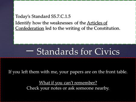 Today's Standard SS.7.C.1.5 Identify how the weaknesses of the Articles of Confederation led to the writing of the Constitution. 一 Standards for Civics.
