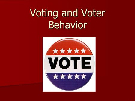 Voting and Voter Behavior. Voting Part 1 Who has suffrage in the US? What are the requirements to vote? Who is prohibited from voting? What is voter registration?