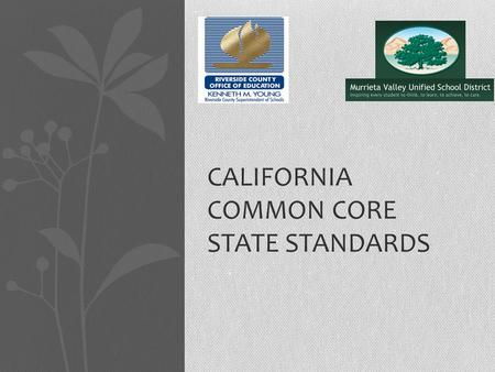 CALIFORNIA COMMON CORE STATE STANDARDS. History of CCSS National State Governors Association Council of Chief State School Officers Work groups and feedback.