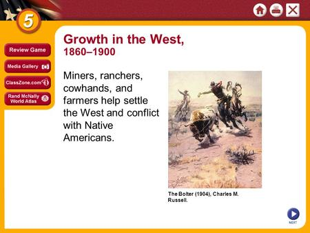 The Bolter (1904), Charles M. Russell. NEXT Growth in the West, 1860–1900 Miners, ranchers, cowhands, and farmers help settle the West and conflict with.