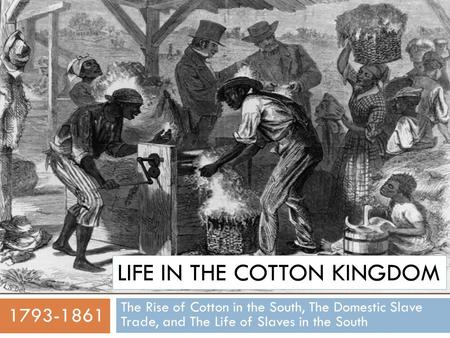 LIFE IN THE COTTON KINGDOM The Rise of Cotton in the South, The Domestic Slave Trade, and The Life of Slaves in the South 1793-1861.