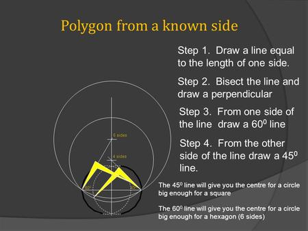 Polygon from a known side 60 0 45 0 4 sides 6 sides Step 1. Draw a line equal to the length of one side. Step 2. Bisect the line and draw a perpendicular.