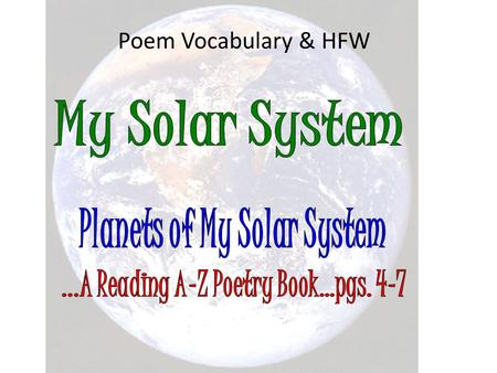 Poem Vocabulary & HFW. about agree all alone also.