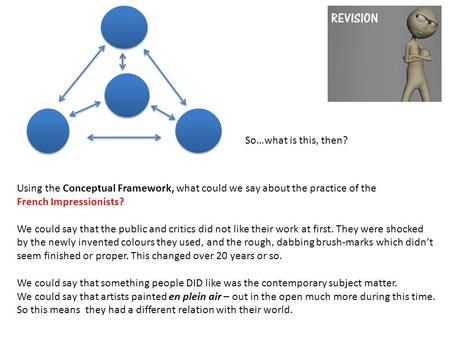 Using the Conceptual Framework, what could we say about the practice of the French Impressionists? We could say that the public and critics did not like.