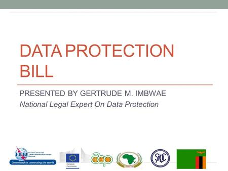 DATA PROTECTION BILL PRESENTED BY GERTRUDE M. IMBWAE National Legal Expert On Data Protection.