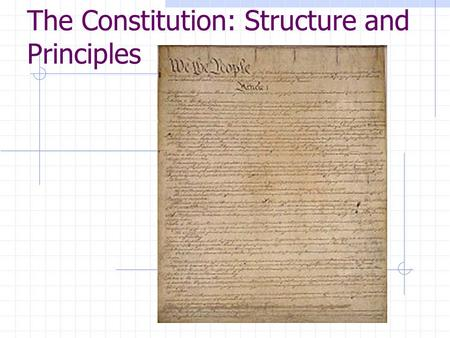 The Constitution: Structure and Principles. The U.S. Constitution  The Founders created the Constitution with the desire to set up a republic, power.