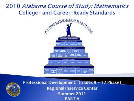 Professional Development: Grades 9 – 12 Phase I Regional Inservice Center Summer 2011 PART A.