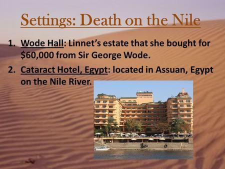 Settings: Death on the Nile