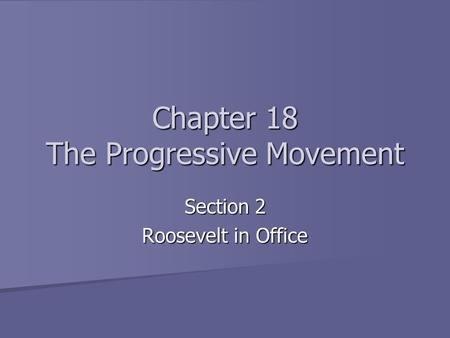 Chapter 18 The Progressive Movement Section 2 Roosevelt in Office.