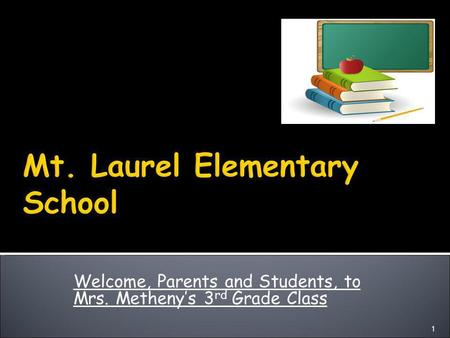 Welcome, Parents and Students, to Mrs. Metheny's 3 rd Grade Class 1.