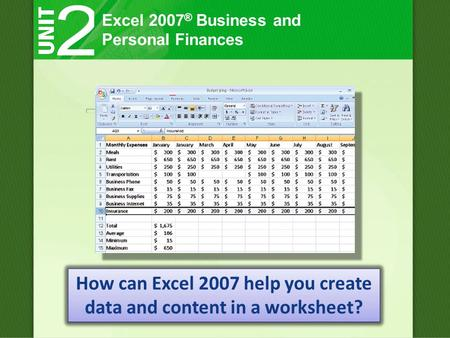 Excel 2007 ® Business and Personal Finances How can Excel 2007 help you create data and content in a worksheet?