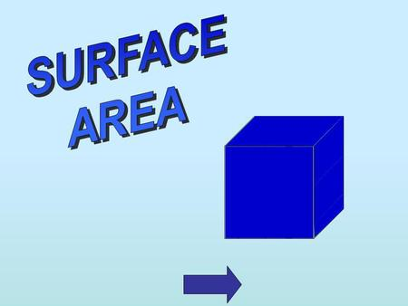 Surface area is how much area is on the outside of a solid. We measure surface area with square units.